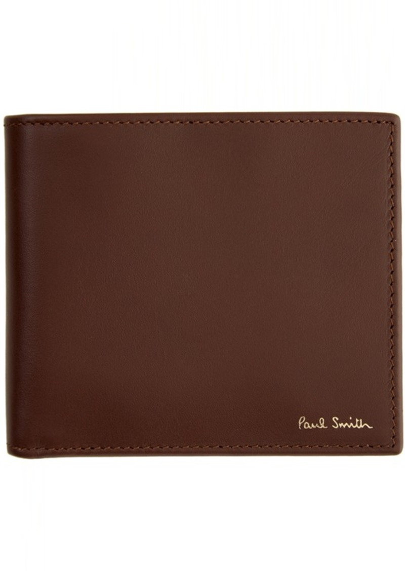 Paul Smith Brown Leather Signature Stripe Interior Billfold Wallet