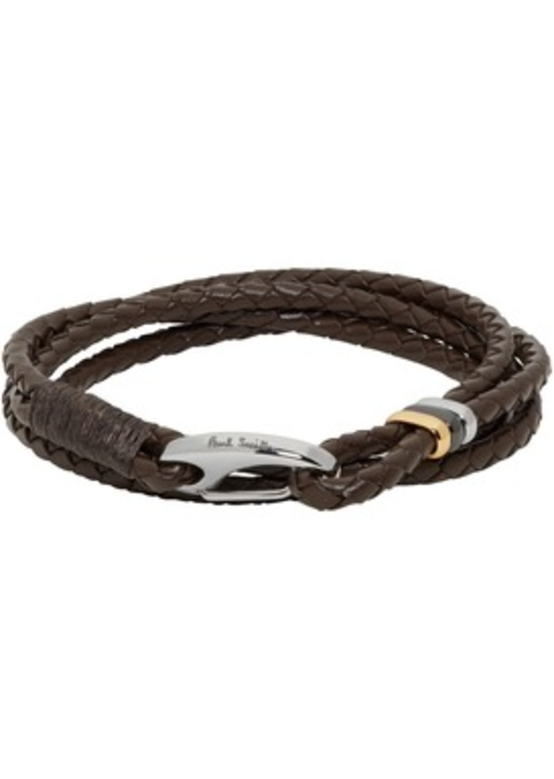 Paul Smith Brown Leather Wrap Bracelet
