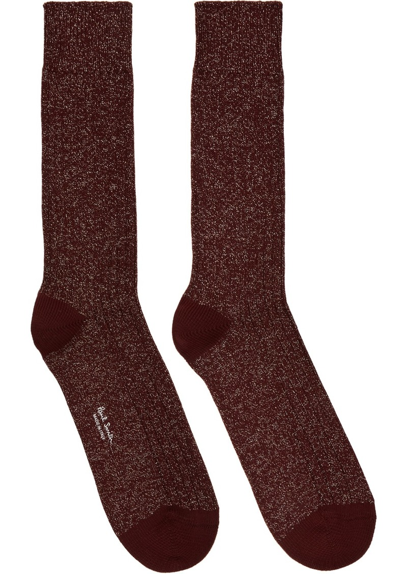 Paul Smith Burgundy & Gold Glitter Rib Socks