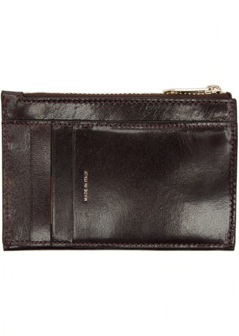 Paul Smith Burgundy Zip Card Holder