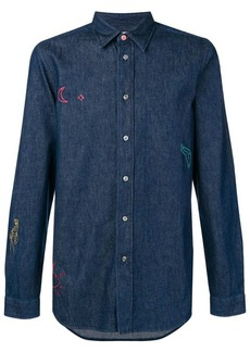 Paul Smith embroidered doodle denim shirt