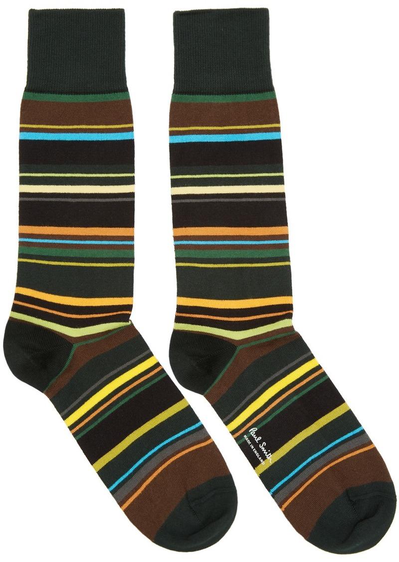 Paul Smith Green & Brown Furniture Stripe Socks