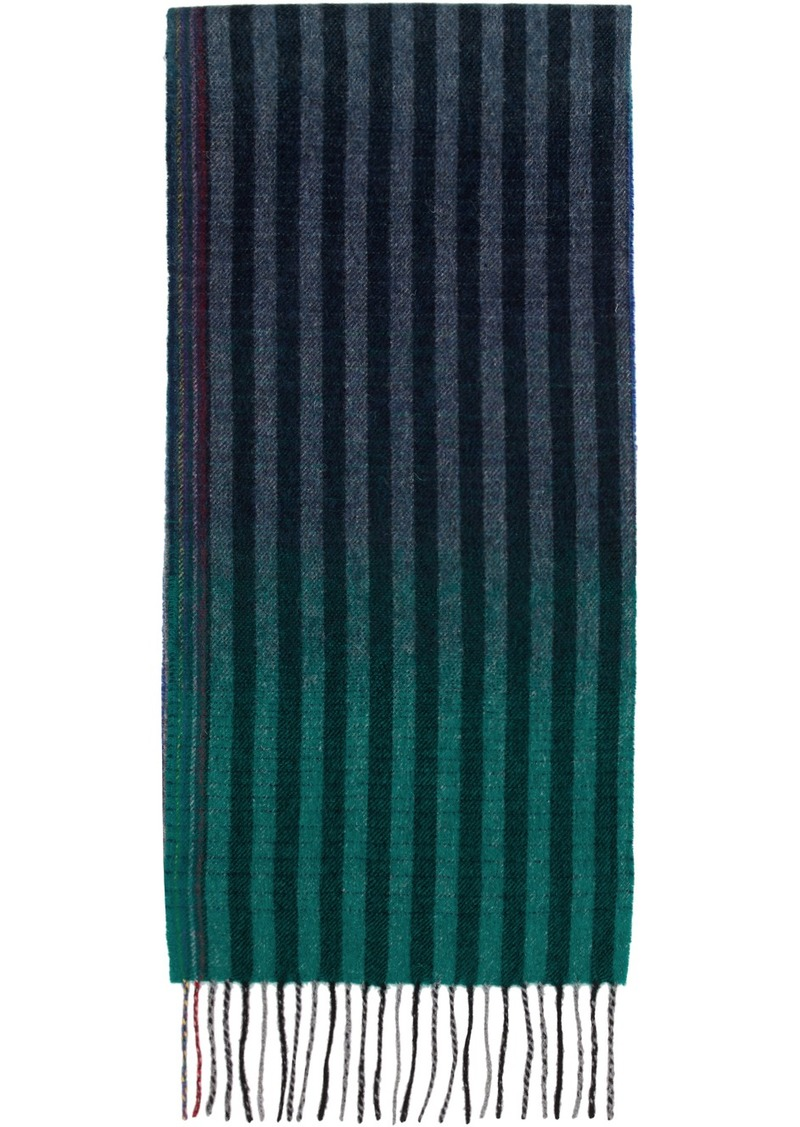 Paul Smith Navy & Multicolor Wool Sunset Stripes Scarf
