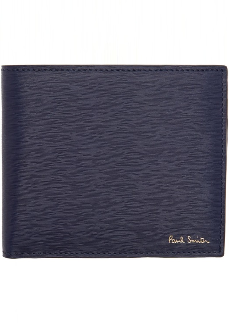 Paul Smith Navy Straw Grain Bifold Wallet