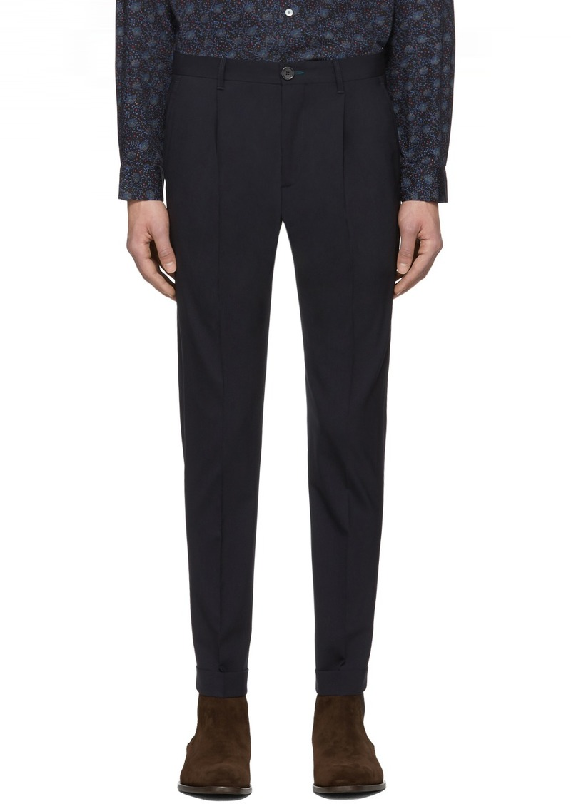 Paul Smith Navy Turn Up Pleated Trousers