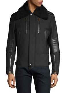 Paul Smith Pannelled Shearling Collar Wool Flight Jacket