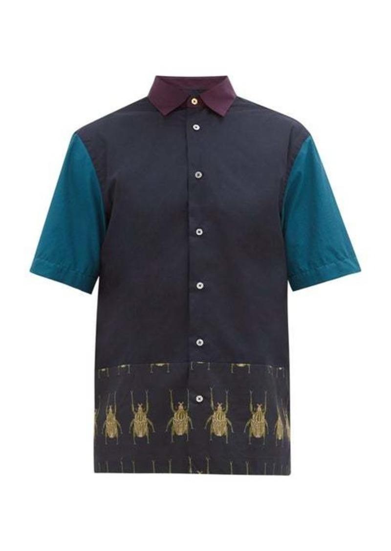 Paul Smith Colour-block beetle-print cotton shirt
