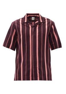 Paul Smith Cuban-collar striped twill shirt