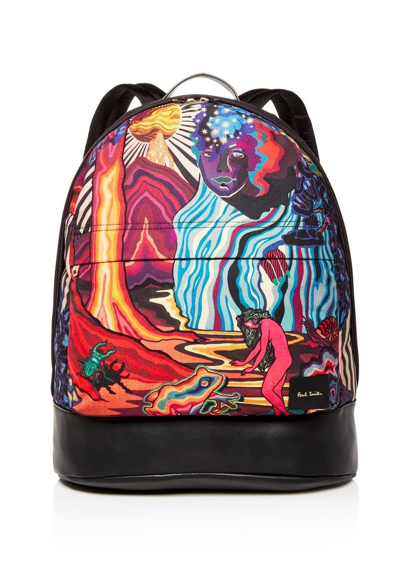 Paul Smith Dreamer Print Leather Backpack