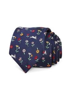 Paul Smith Floral Rabbit Print Silk Skinny Tie