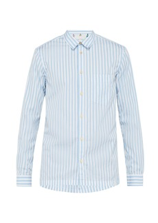 Paul Smith Frayed-collar striped cotton shirt