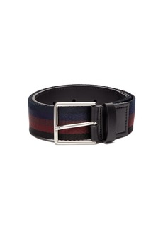 Paul Smith Leather-trimmed striped canvas belt
