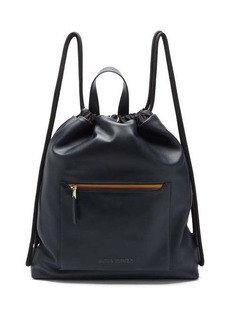 Paul Smith Logo-stripe drawstring leather bag