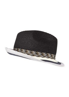 Paul Smith Men's Striped-Brim Straw Fedora Hat