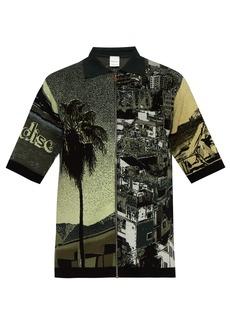 Paul Smith Palm-jacquard zip-through cotton-blend polo shirt