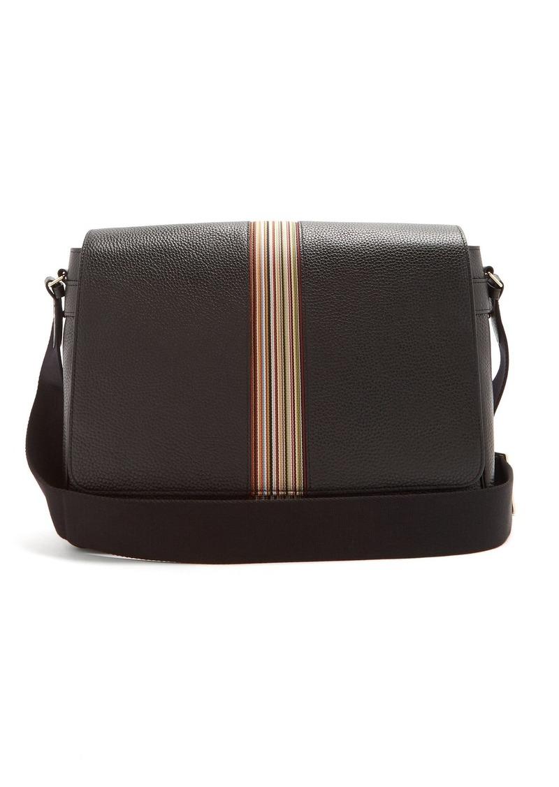 Paul Smith Signature stripe leather messenger bag