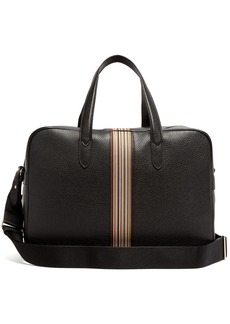 Paul Smith Signature stripe leather weekend bag