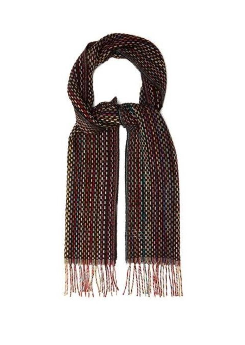 Paul Smith Signature-stripe woven cashmere scarf