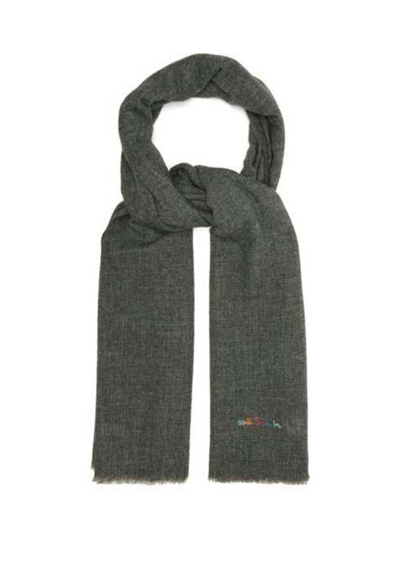 Paul Smith Topstitched wool-blend scarf