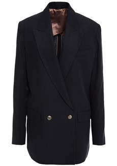 Paul Smith Woman Double-breasted Linen Blazer Midnight Blue
