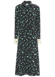Paul Smith Woman Floral-print Silk Crepe De Chine Midi Shirt Dress Black