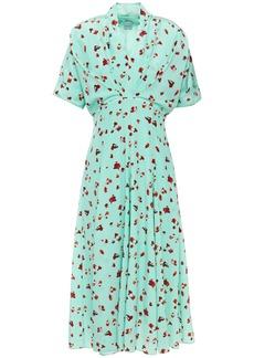 Paul Smith Woman Pleated Floral-print Silk Crepe De Chine Midi Dress Turquoise