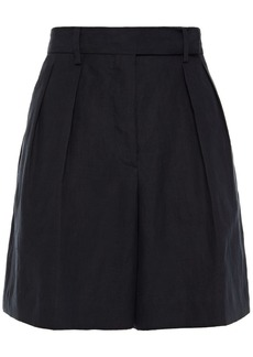 Paul Smith Woman Pleated Linen Shorts Midnight Blue