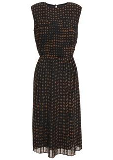 Paul Smith Woman Pleated Printed Crepe Midi Dress Midnight Blue