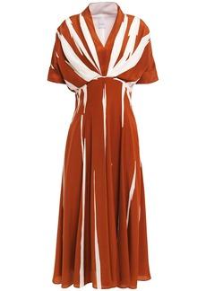 Paul Smith Woman Pleated Printed Silk Crepe De Chine Midi Dress Brick