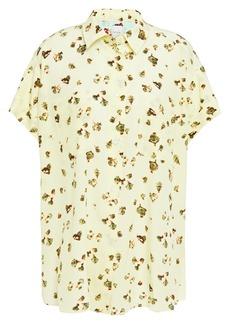 Paul Smith Woman Printed Silk Crepe De Chine Shirt Pastel Yellow