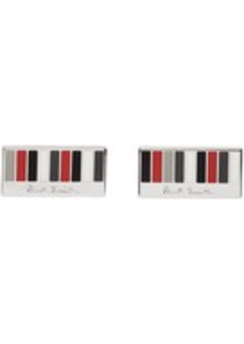 Paul Smith Silver & Red Manchester United Edition Ministripe Cufflinks