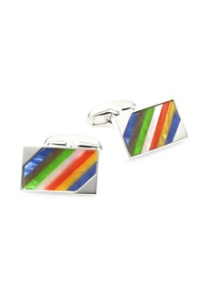 Paul Smith Striped Stone Silvertone Cufflinks