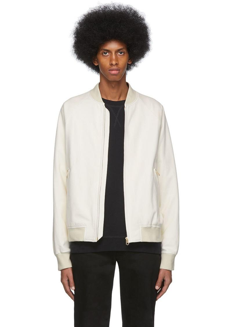Paul Smith White Leather Raglan Bomber Jacket