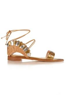 Paula Cademartori Lotus lace-up leather and cork sandals