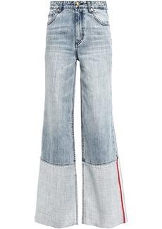 P.e Nation Woman Ballout Two-tone High-rise Wide-leg Jeans Light Denim