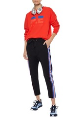 P.e Nation Woman Court Run Cropped Striped Stretch-knit Track Pants Black