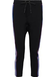 P.e Nation Woman Court Run Cropped Striped Stretch-knit Track Pants Black