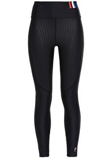 P.e Nation Woman Cropped Paneled Striped Stretch Leggings Black