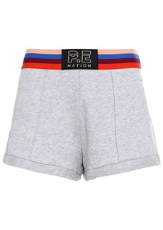 P.e Nation Woman Starting Whistle Mélange French Cotton-terry Shorts Light Gray