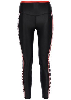 P.e Nation Woman Stealing Home Cropped Striped Stretch Leggings Black