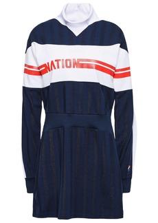 P.e Nation Woman Stroker Ace Paneled Printed Piqué-jersey Tennis Dress Navy