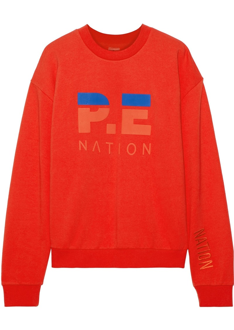P.e Nation Woman The Hustler Printed French Cotton-terry Sweatshirt Red