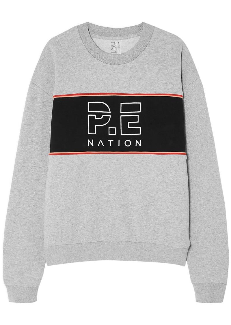 P.e Nation Woman Invictus Oversized Paneled Cotton-jersey Sweatshirt Stone