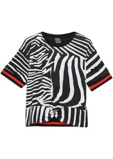 P.e Nation Woman Twisted Flocked Zebra-print Cotton-jersey T-shirt Black
