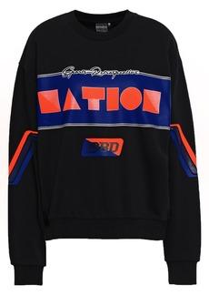 P.e Nation Woman Wrestler Printed French Cotton-terry Sweatshirt Black