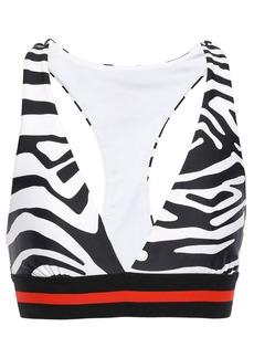 P.e Nation Woman Zebra-print Stretch Sports Bra Black