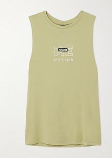 P.E Nation Twist Serve Appliqued Printed Organic Cotton-jersey Tank