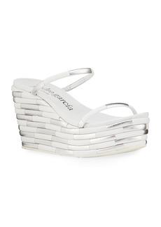 Pedro Garcia Denita Two-Tone Strap Wedge Sandals