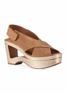 Pedro Garcia Fidelina Metallic Cutout Wedge Sandals