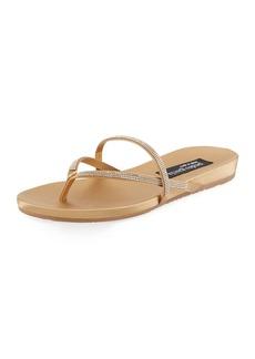 Pedro Garcia Giulia Crystal Strappy Flat Thong Slide Sandal